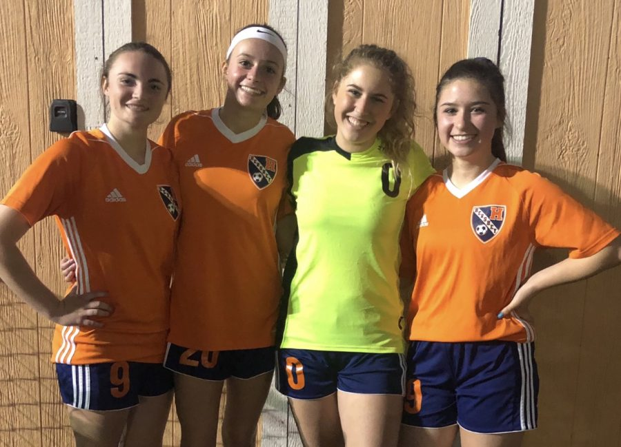 Kendall Davis, Jessica Gilbert, Cassie Paioletti, and Allie Hahn (left to right) smile for the camera. Hershey Girls Soccer club has a 2-2 record this season. (Broadcaster/Lauren Cribbs)