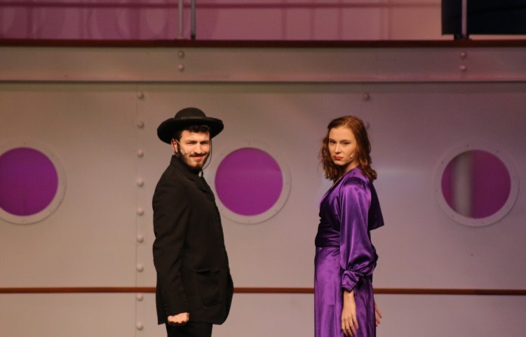 "Patrick Gavazzi (left) and Myah Koepfer (right) performing the song ""Friendship"" during a dress rehearsal of ""Anything Goes"" at Hershey High School. Both of the performers are nominated for an Apollo Award. (Phil Ayala)"