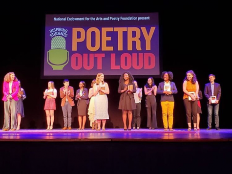 Jordan Lewis competes in the 2019 Poetry Out Loud National