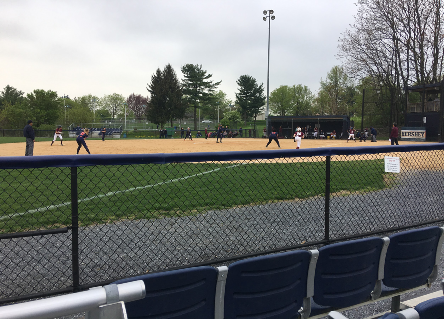 Hershey+Softball+playing+defense+while+bases+are+loaded.+The+Trojans+got+defeated+by+13-4+to+the+Mechanicsburg+Wildcats.+%28Broadcaster%2FAllie+Balcomb%29