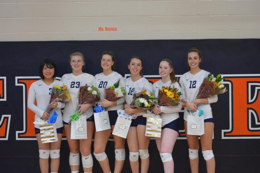 %28Left+to+right%29+Seniors+Yuki+Matsumoto%2C+Annie+Shay%2C+Anna+Silva%2C+Ella+Pederson%2C+Amber+Bell%2C+and+Leah+Koppenhaver+pose+with+the+flowers+and+gift+they+received+on+senior+night.+Each+senior+chose+an+underclassman+teammate+to+share+their+biography.+%28Broadcaster%2FClaire+Sheppard%29