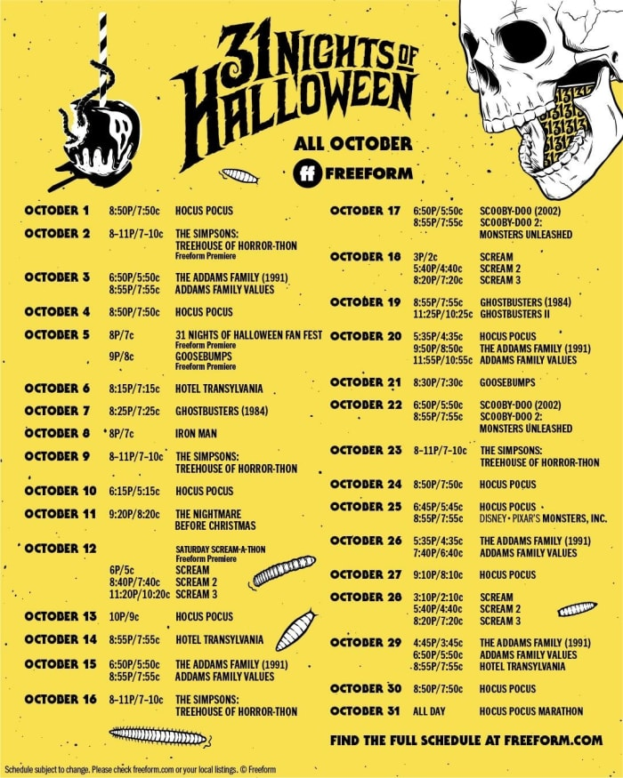 """Freeform's """"31 Nights of Halloween"""" continues all through the month of October. The schedule shows all available Halloween movies, as well as some family-friendly classics. (Freeform)"""