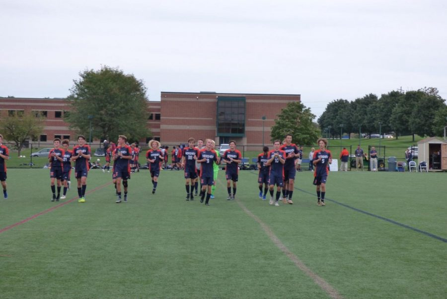 Hershey Boys Soccer warms up for their game. The team has a record of 10-3-2, after the win against Palmyra Area High School on October 8, 2019. (Broadcaster/Lauren Cribbs)