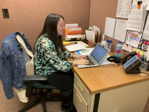 Victoria Smith works on internship documents on October 31st, 2019. Smith is in charge of coordinating internships, and her office is located in the Guidance Office. (Broadcaster/Karen Liu)