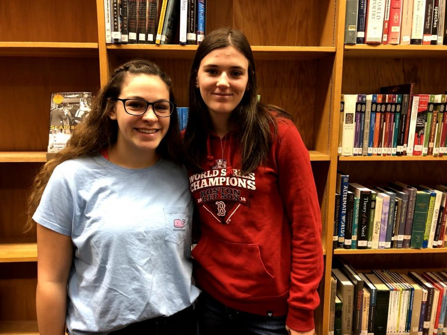 Senior Ainsley Perry (right) hangs out with freshman Camryn Yingling (left) in the library on October 30, 2019. As a Link Leader, Perry is friends with many underclassmen and helps them with any questions they may have about high school. (Broadcaster/Brooke Lehrman)