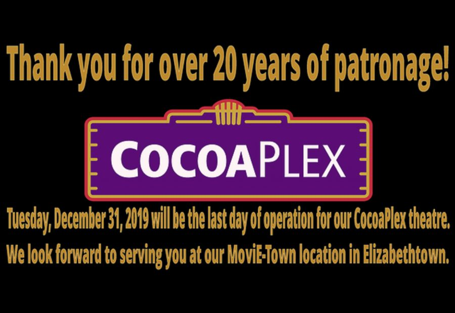 Cocoaplex Cinema closes its doors on December 31, 2019. The cinema has served the Hershey community for more than 20 years. (CocoaPlex)