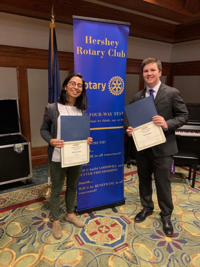 Jerusha George and Kole Kramer pose holding their Student of the Month Honor Award certificates at the Hershey Rotary Club's luncheon on Monday, November 18, 2019. George and Kramer have both been successful students at HHS, and they anticipate continuing their academic careers at a four-year university. (Kole Kramer)