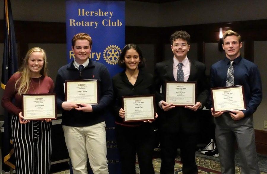 Julia Parrey (left) and Hank Carrera (second from left) pose with other October Student of the Month recipients. The students from Hershey, Milton Hershey, and Middletown were recognized at the Hershey Rotary Club's luncheon on Monday, October 21, 2019. (Submitted by Julia Parrey)
