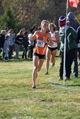 Senior Oliva Wilson dashes around the final turn at the PIAA Cross Country State Championship Meet in Hershey on Saturday, November 2, 2019.  The Hershey girls team took home 3rd place in the AAA division. (Broadcaster/Robert Sterner)