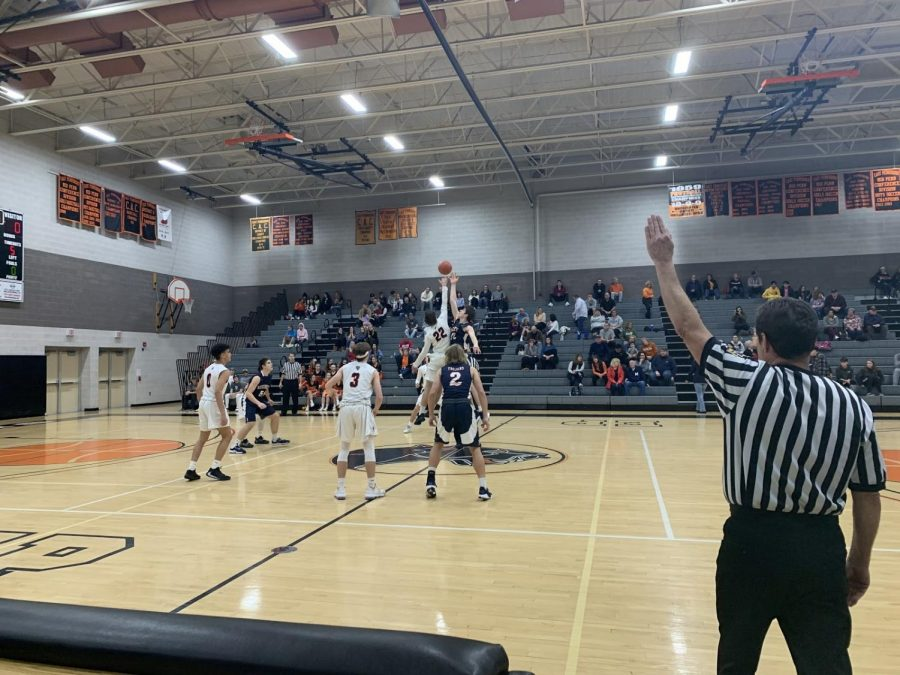 Hershey Trojans Boys Basketball's Elliot Blubaugh goes up for the tipoff against East Pennsboro. The boys won the tight game with a final score of 52-50 on January 11, 2020.(Broadcaster/Adrianna Malena).