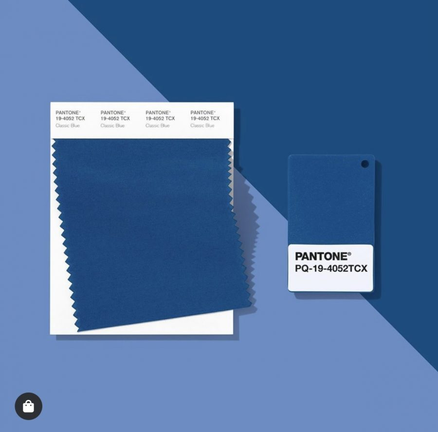 """Classic Blue color swatch card posted on Pantones Instagram on January 21st 2020. The caption described the color as """"a self- assured blue hue elegant in its simplicity."""" (Pantone)"""
