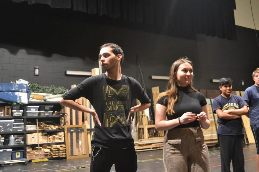 Senior Chris Santiago and junior Morgan King stand side by side during their first rehearsal. The shows will be performed on February 28, 29, and March 1 (Broadcaster/Talon Smith)