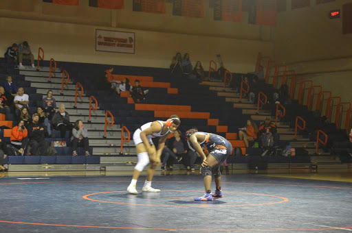 Hershey senior Donte Hibbert faces his opponent in the 160 pound match. Hibbert plans to attend Messiah University next year. (Broadcaster/ Leah Koppenhaver)