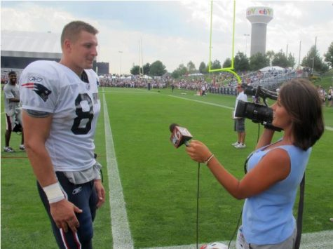 An ABC6 reporter interviews Rob Gronkowski during the 2011 season.  Gronkowski averaged 15.1 yards per catch and scored 79 touchdowns during his nine seasons with the New England Patriots.  (Bill Littlefield/Only A Game/CC BY-NC-ND 2.0)