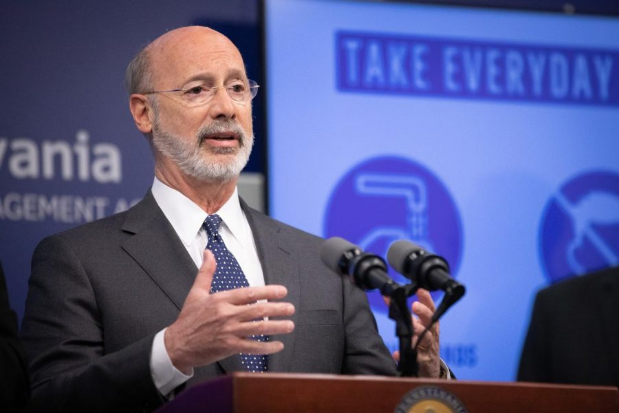 Pennsylvania Governor Wolf addresses the media on March 16, 2020.  Wolf and Secretary of Health Levine are expected to release details for a statewide contact tracing program on May 1, 2020.  (Governor Tom Wolf/CC BY 2.0)