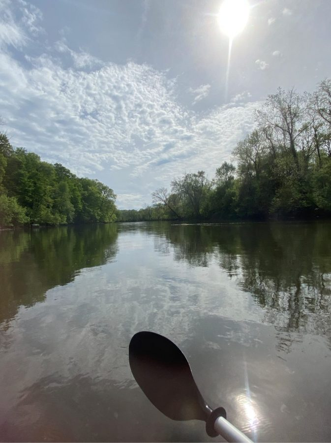 Kayaking in the Susquehanna on a sunny day. When kayaking you can choose to just float, or you can paddle your way down the Susquehanna. (Broadcaster/Lauren Cribbs)