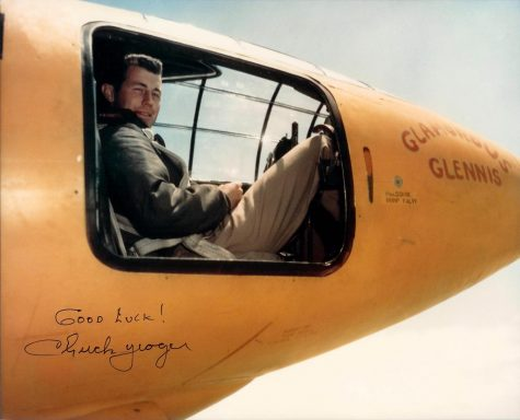 """Chuck Yeager sits in the cockpit of his record breaking Bell X-1 rocket plane, """"Glamorous Glennis."""" The photos was signed """"Good Luck, Chuck Yeager"""" in 1994 at Edwards Air Force Base, California. (Jack Ridley/Public Domain)"""