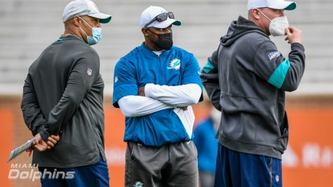 The Miami coaching staff studies the prospects at the Senior Bowl practice in Mobile, Alabama.  Miami executed a pair of trades including trading down to net a number of picks this year and in future drafts. (Miami Dolphins)