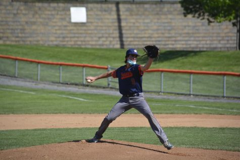 Hershey freshman pitcher, Ryan Dhawan, strikes out the first player of the inning. This is Ryan's first year playing on the high school team, and said he is looking forward to next year's season. (Broadcaster/ Isabella Maish)