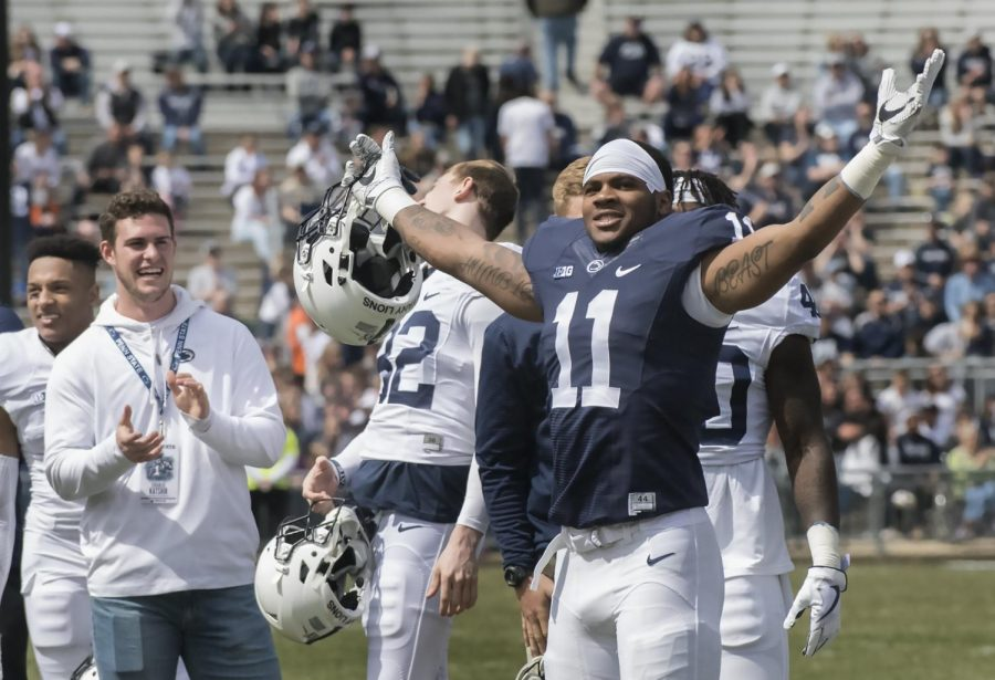 The+Penn+State+football+team%27s+freshman+class+for+2018%2C+including+five-star+recruit+Micah+Parsons%2C+were+introduced+to+the+crowd+at+Beaver+Stadium+prior+to+the+annual+Blue+White+game+on+April+21.++Parson+was+drafted+by+the+Dallas+Cowboys+in+the+first+round+of+the+2021+NFL+Draft.++%28Penn+State%2FCC+BY-NC-ND+2.0%29+