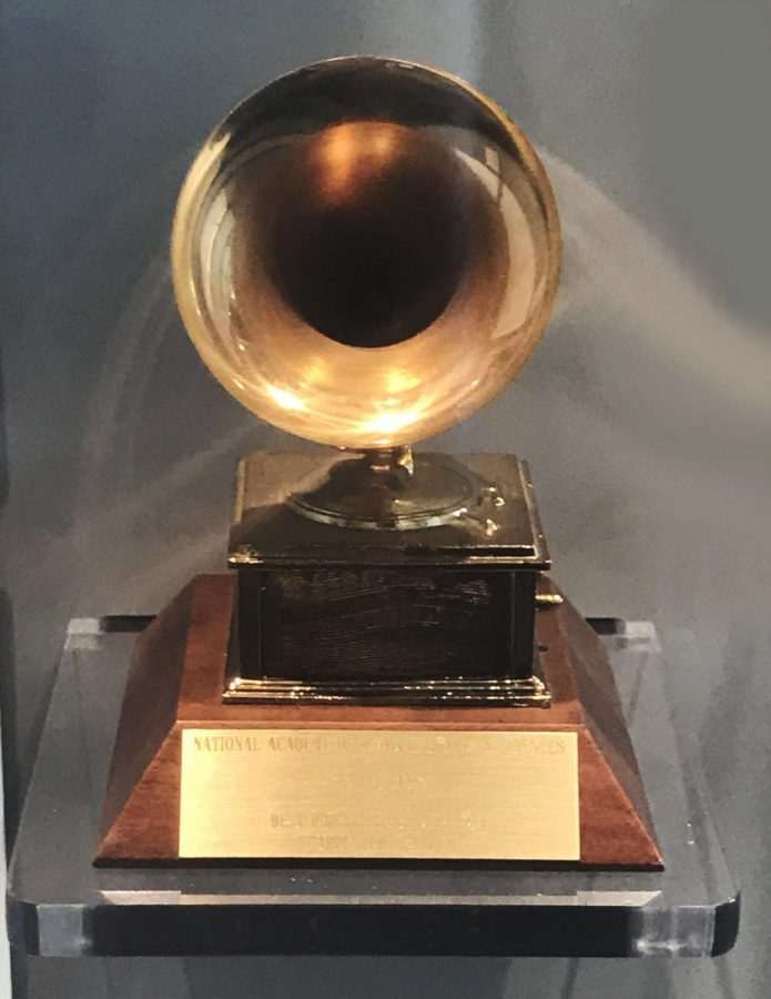 A Grammy award is pictured from the 1971 Grammys. The Grammy was awarded to The Carpenters for Album of the Year.  (rocor/CC BY-NC 2.0)