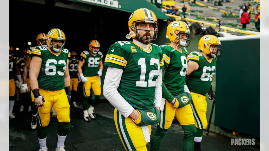 Aaron Rogers, 12, leads his team onto the field before the NFC Championship matchup between the Green Bay Packers and Tampa Bay Buccaneers on Sunday, Jan. 24, 2021.  Rogers is contemplating retirement.  (Green Bay Packers)